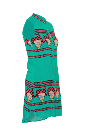 Wear We Met Printed Green Straight Tunic - 91D535 - Apsara Silks