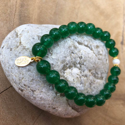 The Pearl Project Bracelet Green Jade Stone