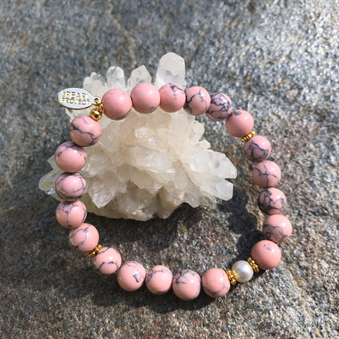 The Pearl Project Bracelet Pink Turquoise Howlite