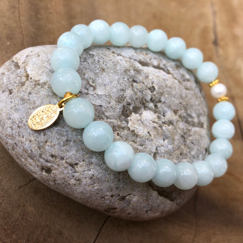 The Pearl Project Bracelet Blue Mountain Jade Stone