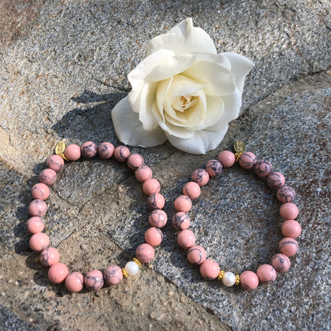 Mommy and Me The Pearl Project Bracelet Set Pink Turquoise Howlite