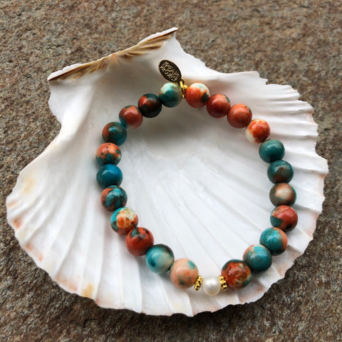 The Pearl Project Bracelet Multi Color Fossil Stone