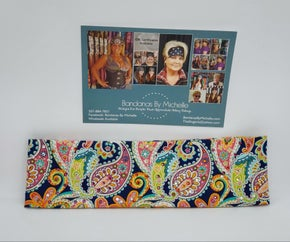 Bright Colored Paisley on Blue with Multi-colors of Swarovski Crystals (Sku1081)