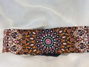 Mustard Indian with Fuchsia, Turquoise and Diamond Clear Swarovski Crystals (Sku1307)