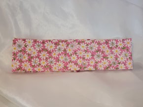 Pink and White Pattern Bandana with Pink, Yellow and Clear Swarovski Crystals (Sku1781)