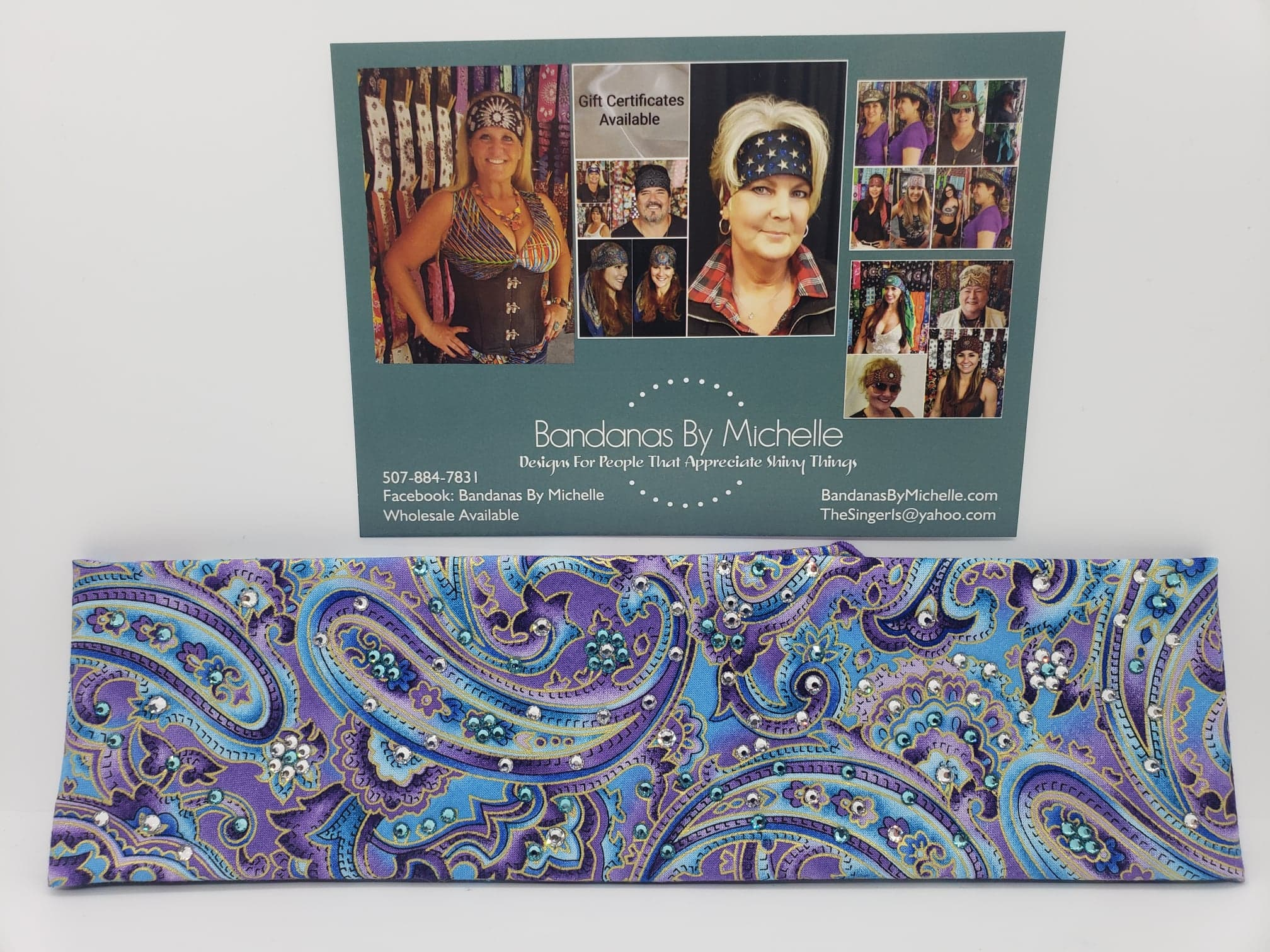 Purple Blue Paisley with Turquoise and Diamond Clear Swarovski Crystals (Sku1840)