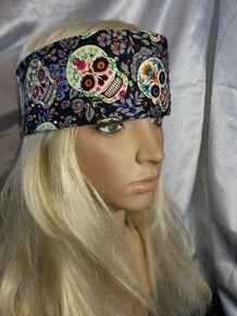 Grey Sugar Skulls with Multi-Colors of Swarovski Crystals (Sku1875)