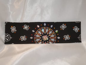 Black Paisley with Orange and Clear Crystals (Sku1907)