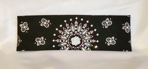 Black Paisley with Light Pink and Diamond Clear Swarovski Crystals (Sku1914)