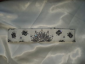 Narrow White Paisley with Diamond Clear Swarovski Crystals (Sku2031)