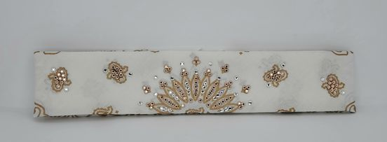 Narrow Gold Paisley on White with Rose Gold and Diamond Clear Swarovski Crystals (Sku2049)