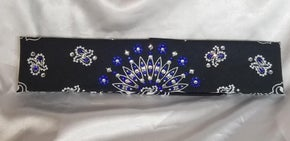 Narrow Black Paisley with Blue Clear Crystals Flower Design (sku2061)