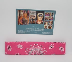 Narrow Bright Pink Paisley with Light Pink and Diamond Clear Swarovski Crystals (2172)