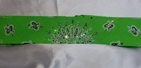 Narrow Lime Green Paisley with Diamond Clear Swarovski Crystals (Sku2400)