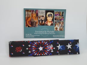 Narrow Black Stars and Stripes Paisley with Red Clear and Blue Swarovski crystals (Sku2441)