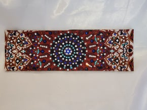 LeeAnnette Rust Indian Bandana With Turquoise,  Blue and Clear Swarovski Crystals