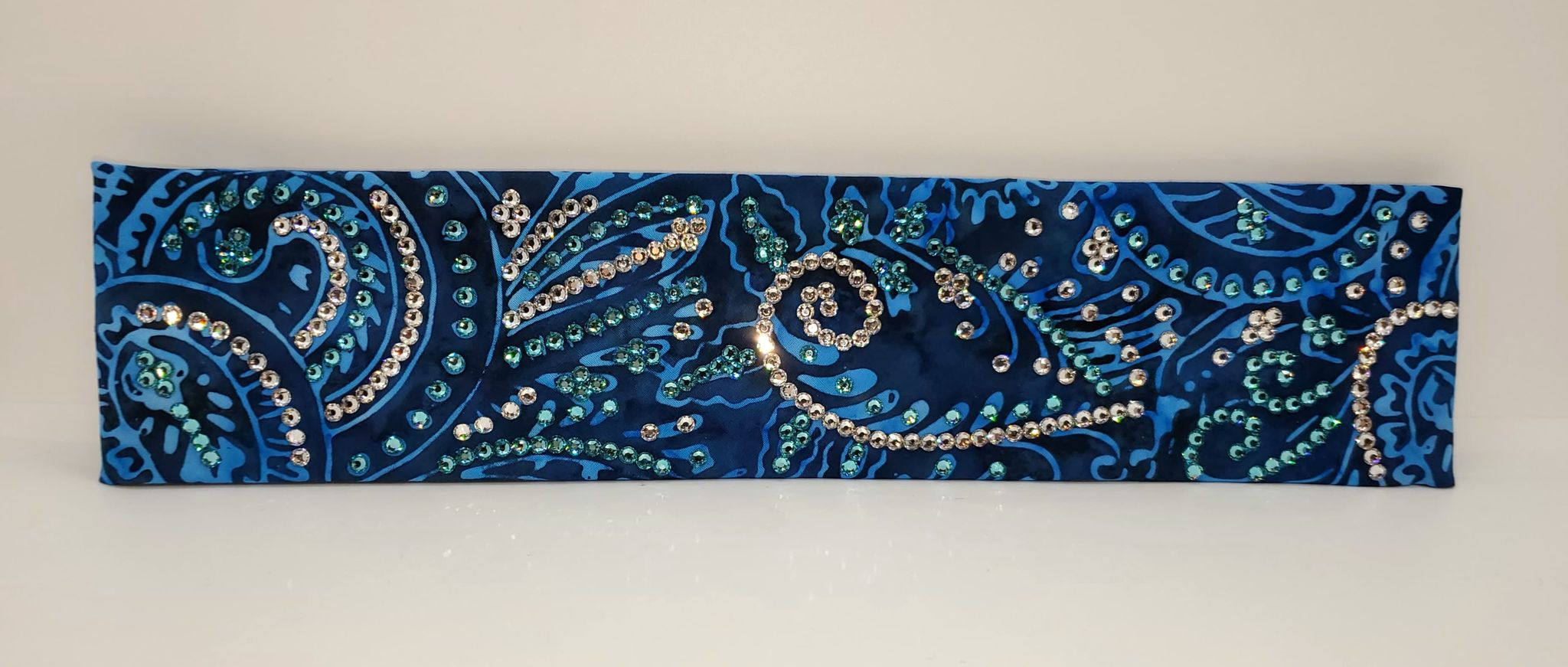 Narrow Blue Batik LeeAnnette with Turquoise and Diamond Clear Swarovski Crystals (Sku4224)