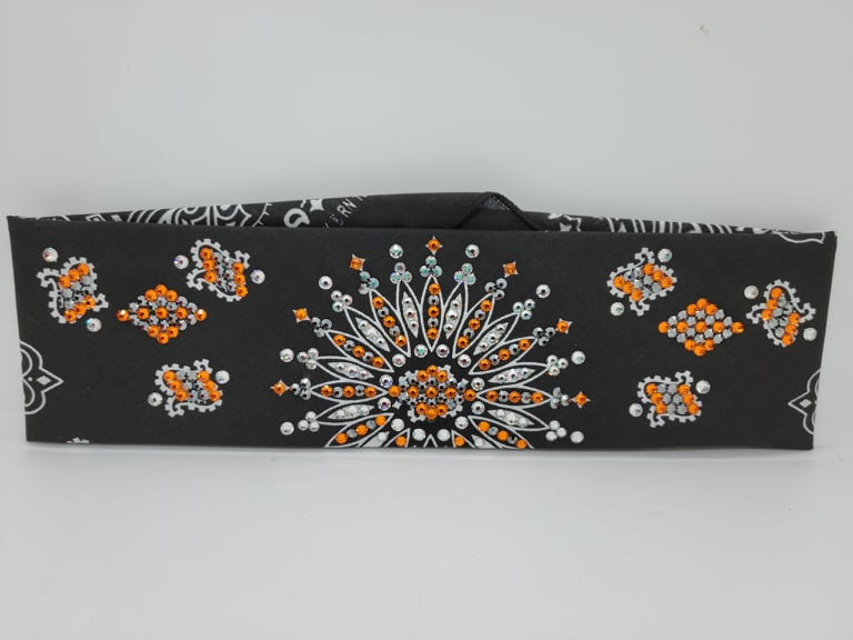 LeeAnnette Black Paisley with Orange, Black and Diamond Clear Crystals (Sku4357)