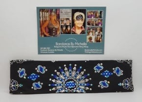 LeeAnnette Black Paisley with Blue, Turquoise and Diamond Clear Swarovski Crystals (Sku4359)