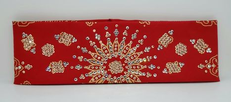 LeeAnnette Gold Paisley on Red with Rose Gold and Diamond Clear Crystals (Sku4367)