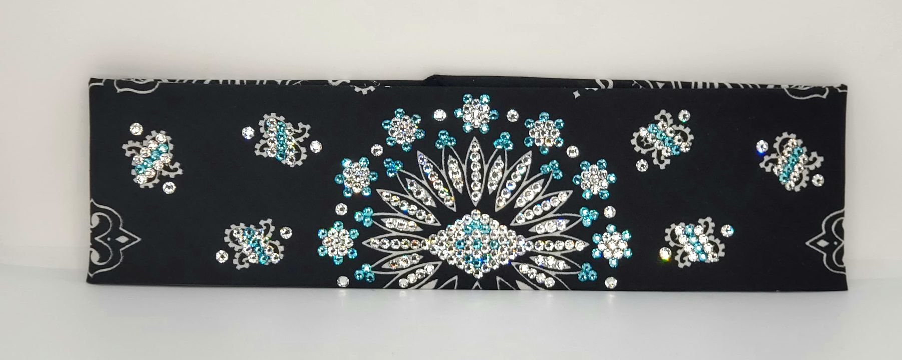 LeeAnnette Black Paisley with Turquoise and Diamond Clear Swarovski Crystals (Sku4560)