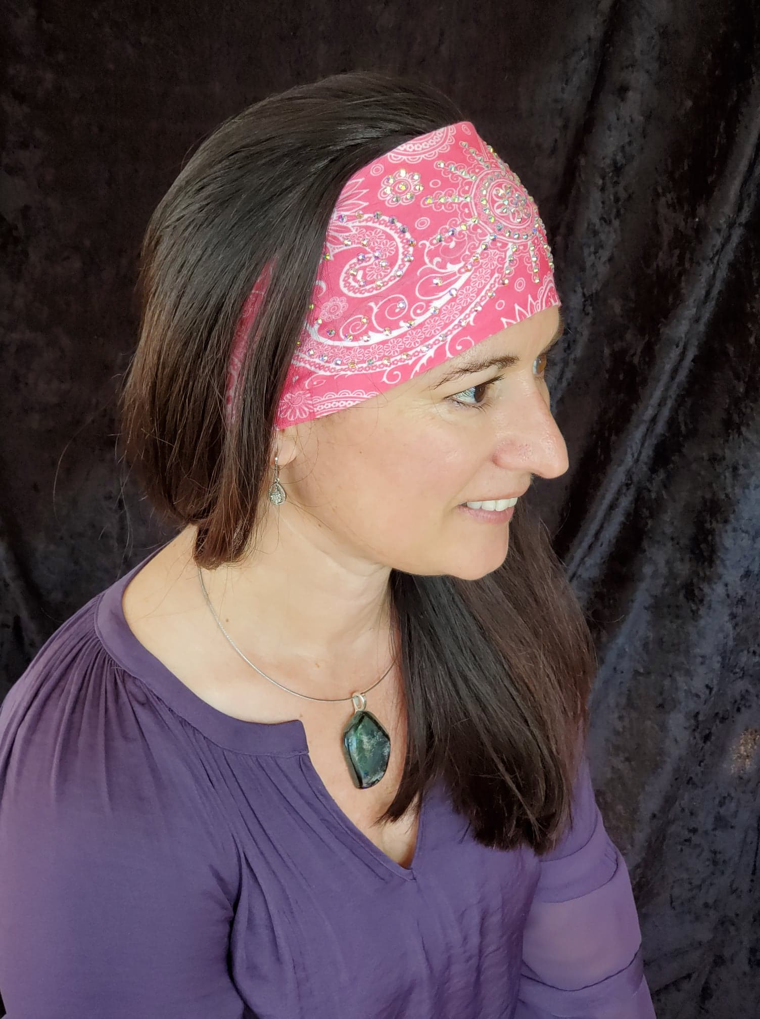 Stretchy Bright Pink Sun Spiral Headband with Aurora Borealis Crystals (Sku5040)