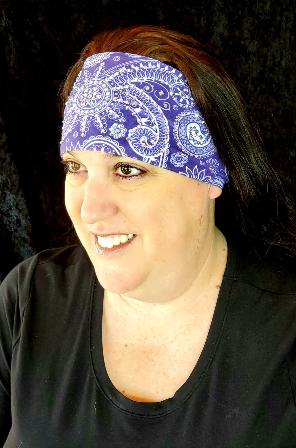 Stretchy Purple Sun Spiral Headband with Aurora Borealis Crystals (Sku5044)