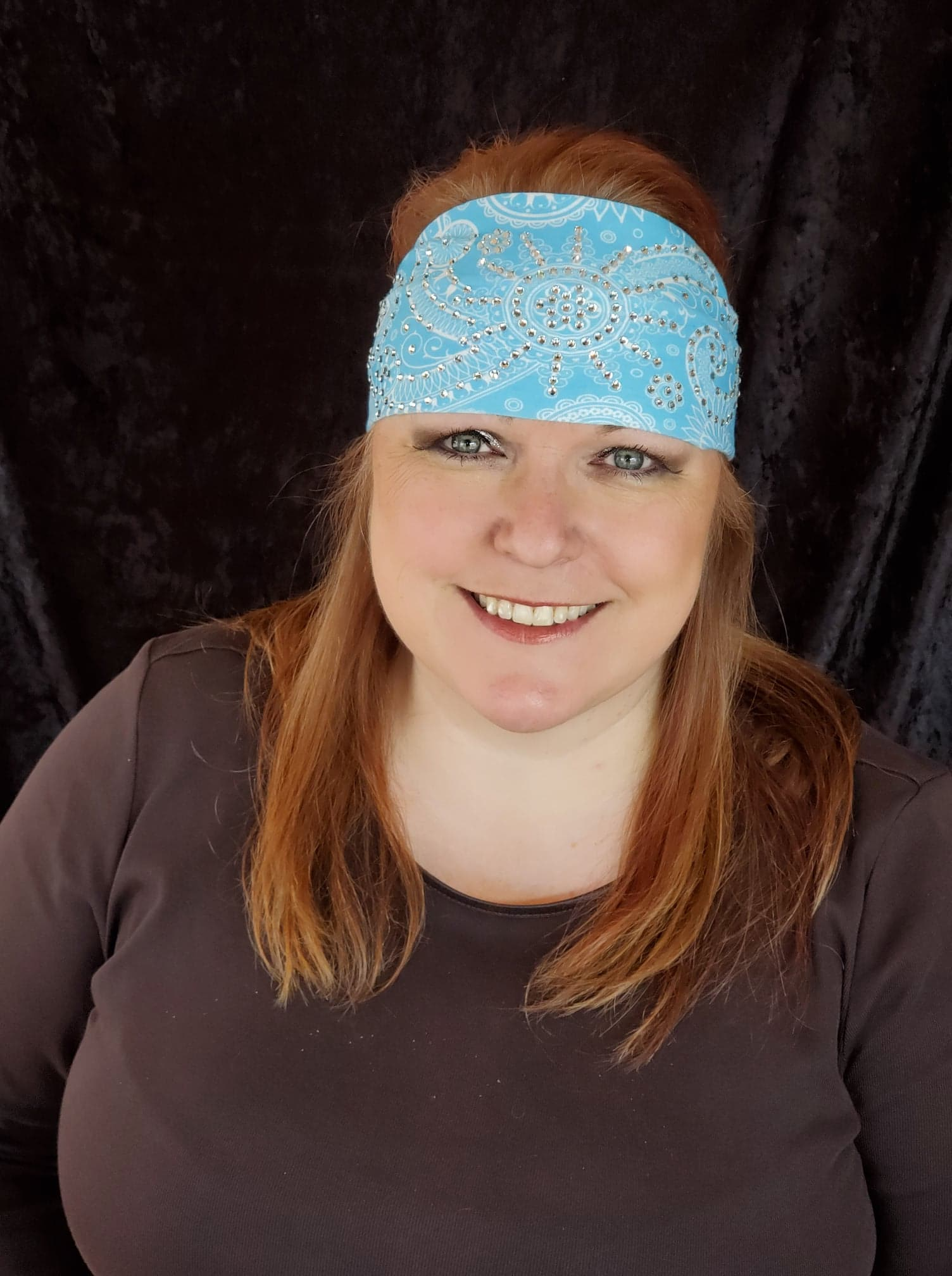 Stretchy Light Blue Sun Spiral Headband with Clear Crystals (Sku5046)