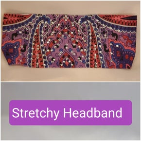 Stretchy Purple Indian Headband with Clear Crystals (Sku5075)