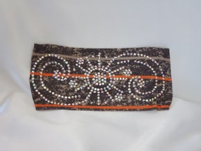 Stretchy Taupe and Gray with Orange Stripe Headband With Aurora Borealis Austrian Crystals (Sku5084)