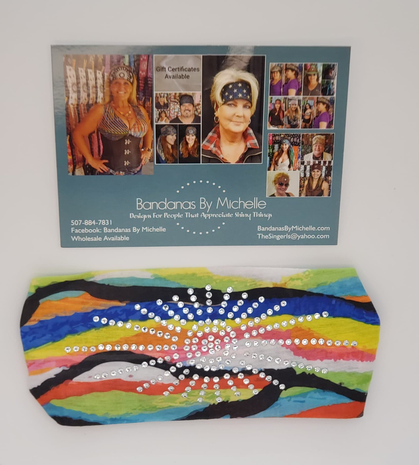Stretchy Headband Bright Funky Multi Colored with Clear Crystal Rhinestones (Sku5132)