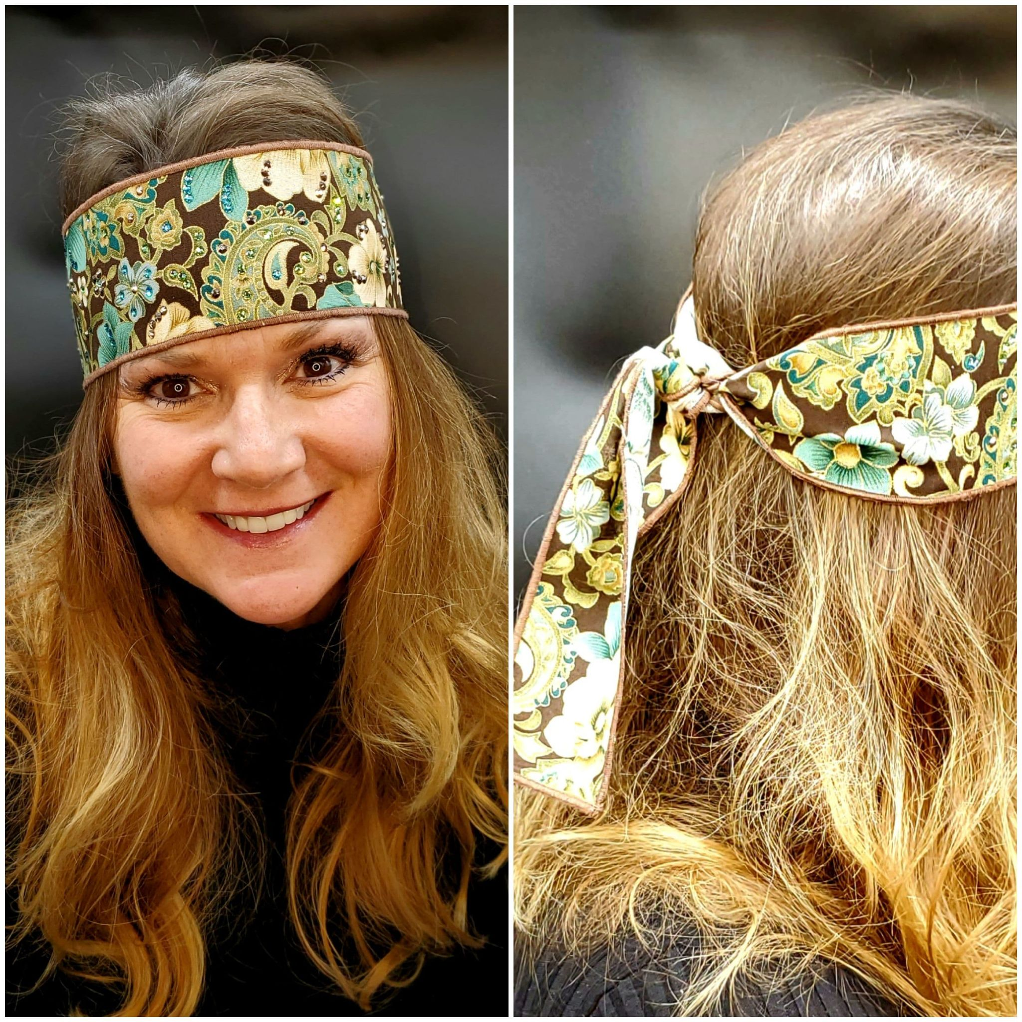 Turquoise and Cream Flowers Headband Strip with Turquoise, Green and Rose Gold Swarovski Crystals (Sku5511)