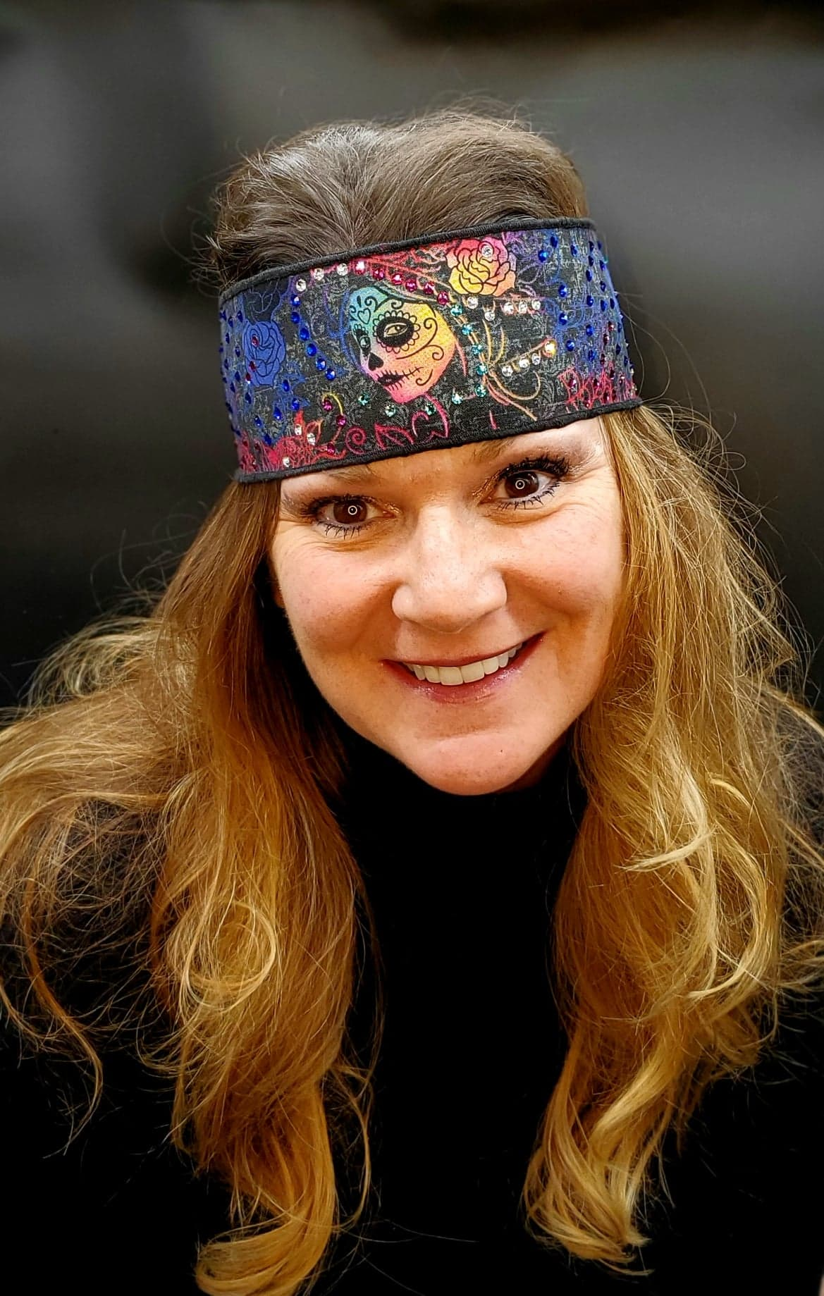 Tie Dyed Painted Face Headband Strip with Multi-Colors of Swarovski Crystals (Sku5525)