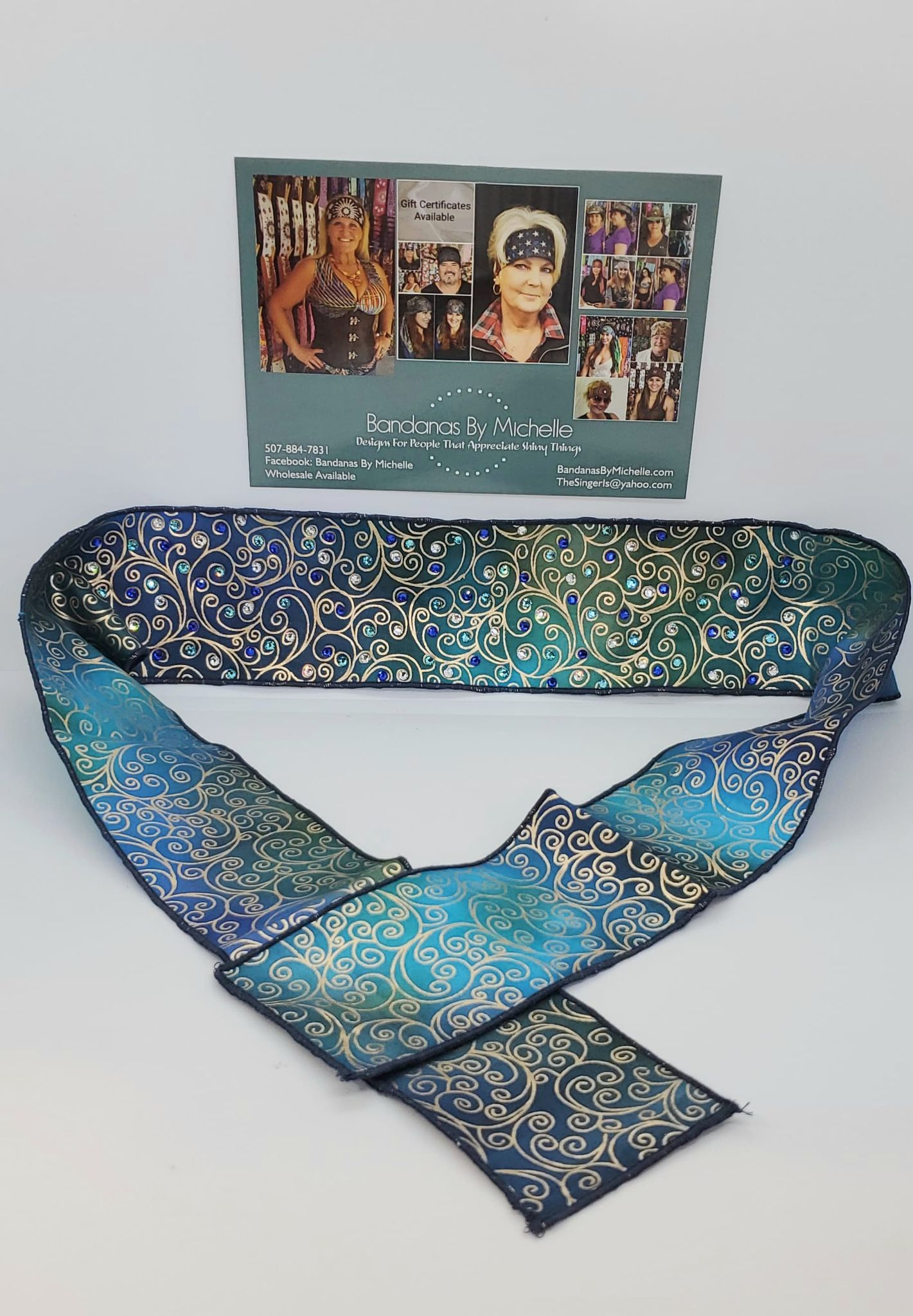 Gold Scrolls on Turquoise and Blue Headband Strip with  Blue, Turquoise and Diamond Clear Swarovski Crystals (Sku5532)