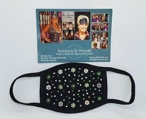 Black Face Mask Extra Bling with Dark Green, Light Green and Diamond Clear Swarovski Crystals (Sku5901)