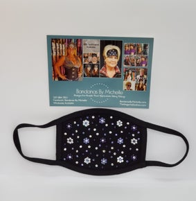 Black Face Mask Extra Bling with Dark Purple, Light Purple and Diamond Clear Swarovski Crystals.Flowers and extra bling *Final Sale* (Sku5904)