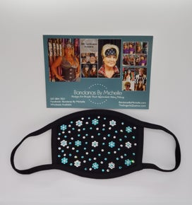 Black Face Mask Extra Bling with Turquoise and Diamond Clear Swarovski Crystals Flowers Final Sale* (Sku5905)
