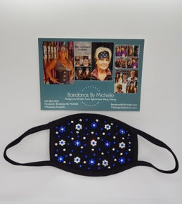 Black Face Masks EXTRA BLING Floral Pattern Blue and Clear *Final Sale* (Sku5908)
