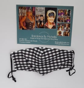Sassy and Stylish Black and White Gingham Face Mask (sku5955) *Final Sale*