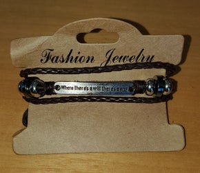 Unisex Leather Bracelet -  Where there's a will there's a way (sku8010)