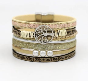 Cream, Tan and Gold Leather Rope Tree Of Wisdom Multilayer Bracelet (sku8314)