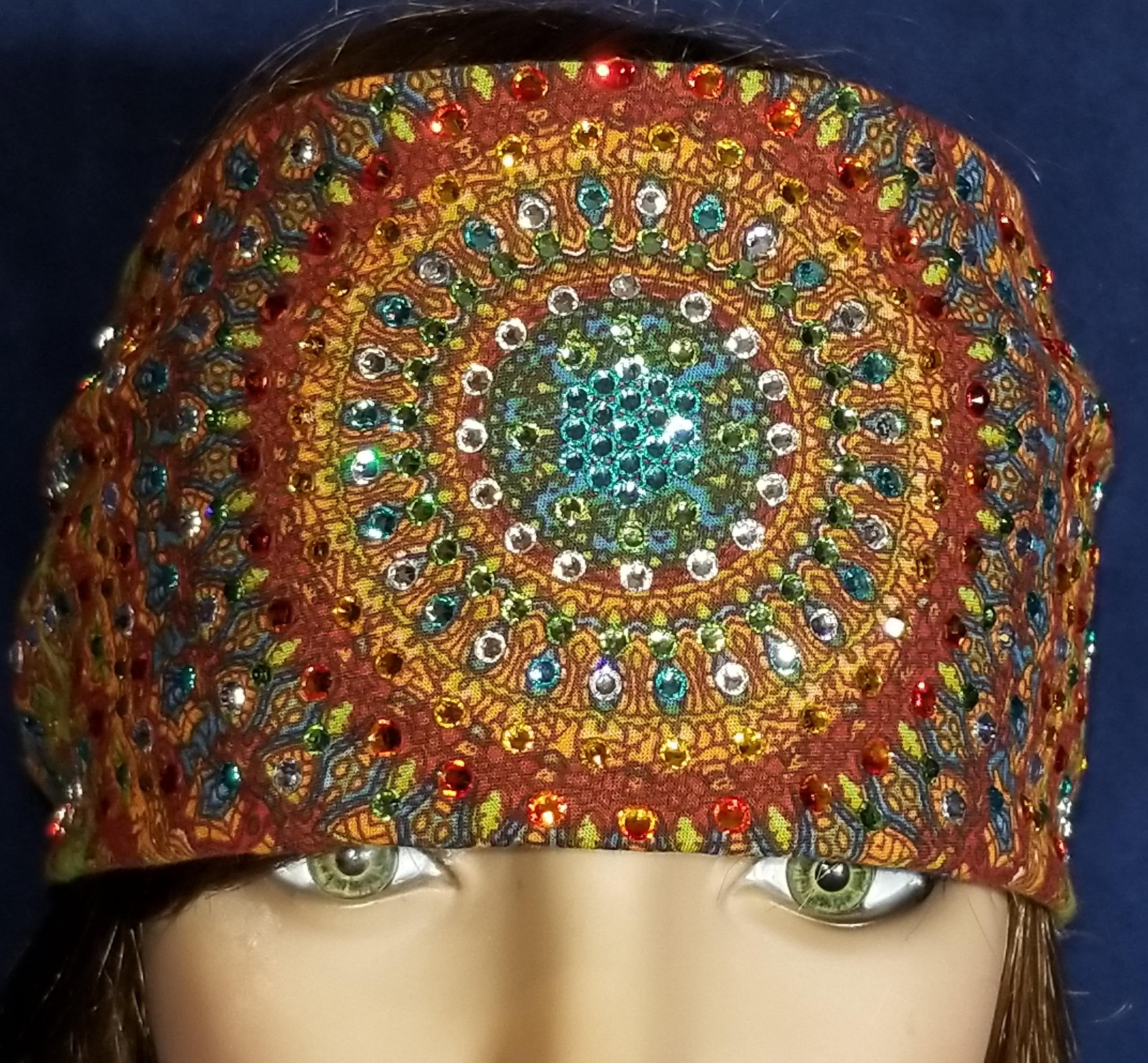 LeeAnnette Grateful Dead bandana With turquoise crystals in the center over 300 swarovski crystals (Sku4030)