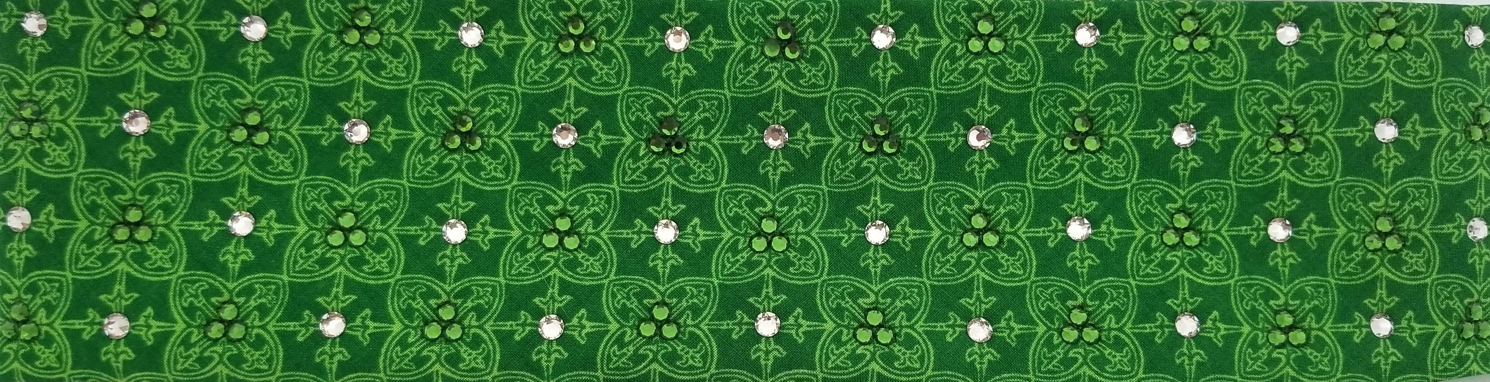 Celtic Pattern Swarovski Crystal Green Bandana (Sku1114)