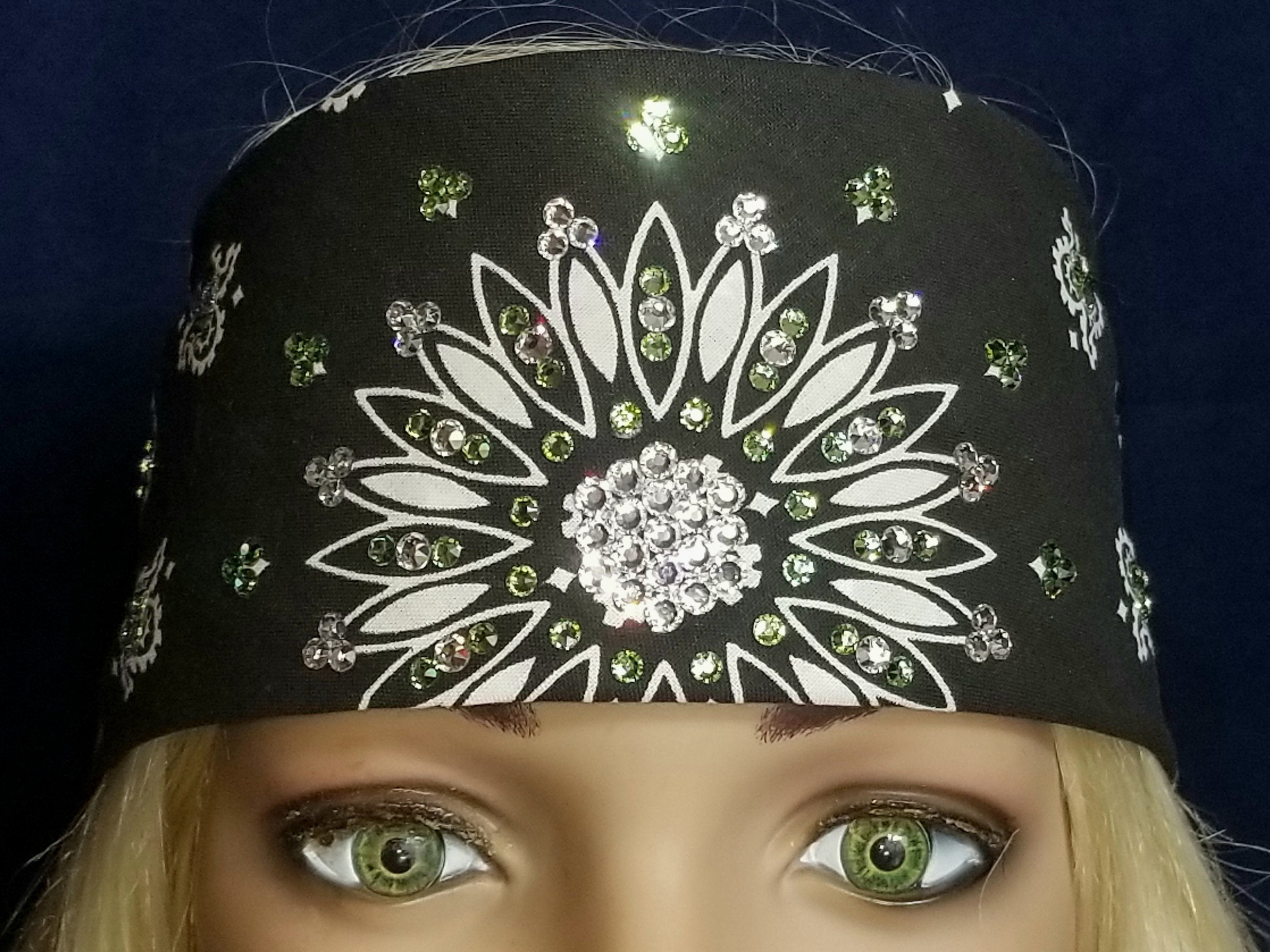 Black Paisley With Diamond Clear and Light Green Swarovski Crystals (Sku1904)