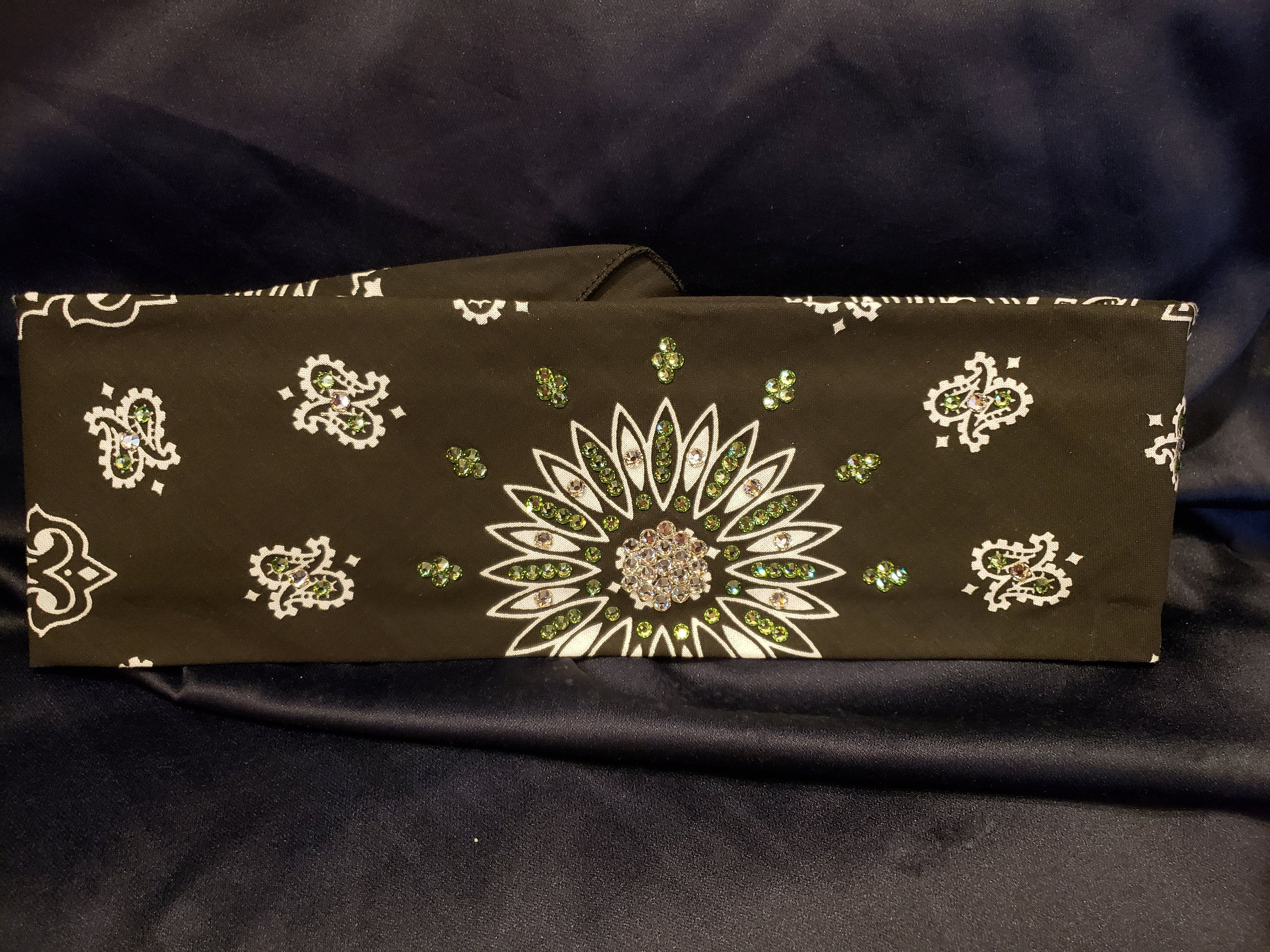 Black Paisley with Light Green and Diamond Clear Swarovski Crystals (Sku1905)