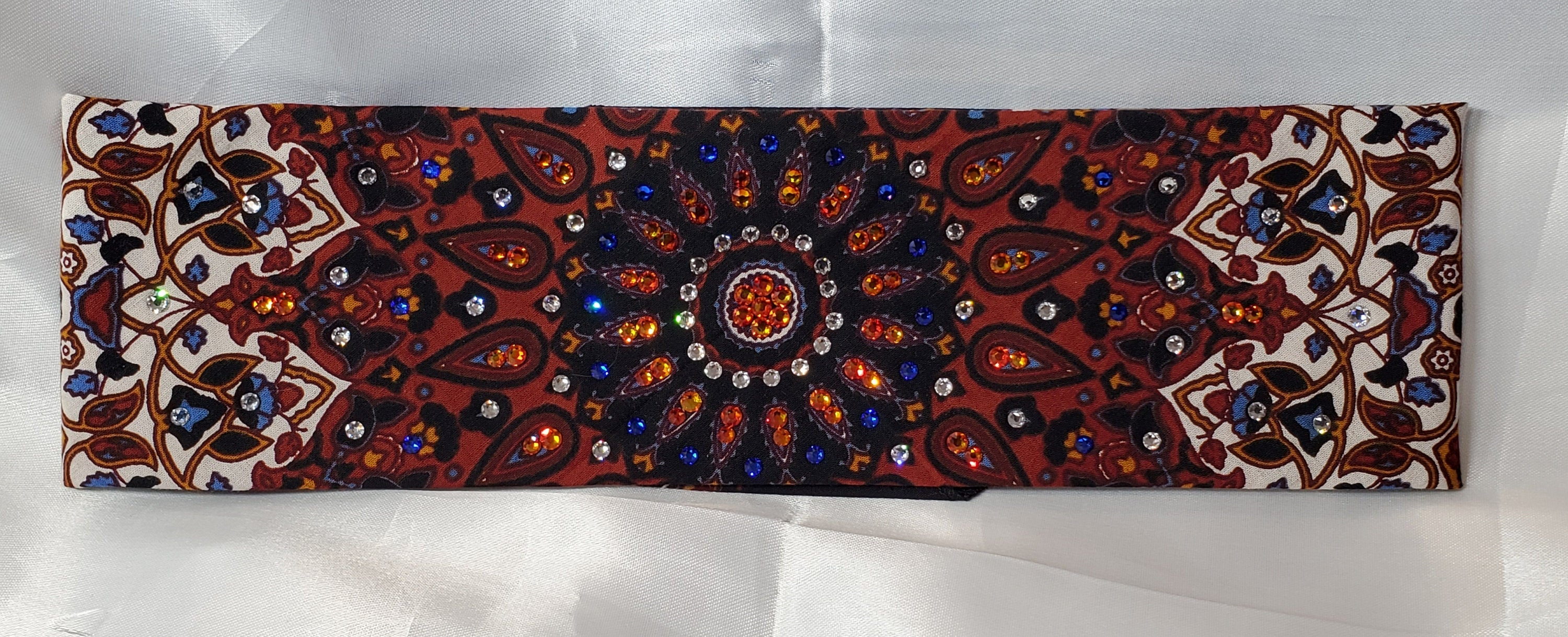 Rust Indian with Orange and Orange and Blue ring of Crystals (Sku1291)