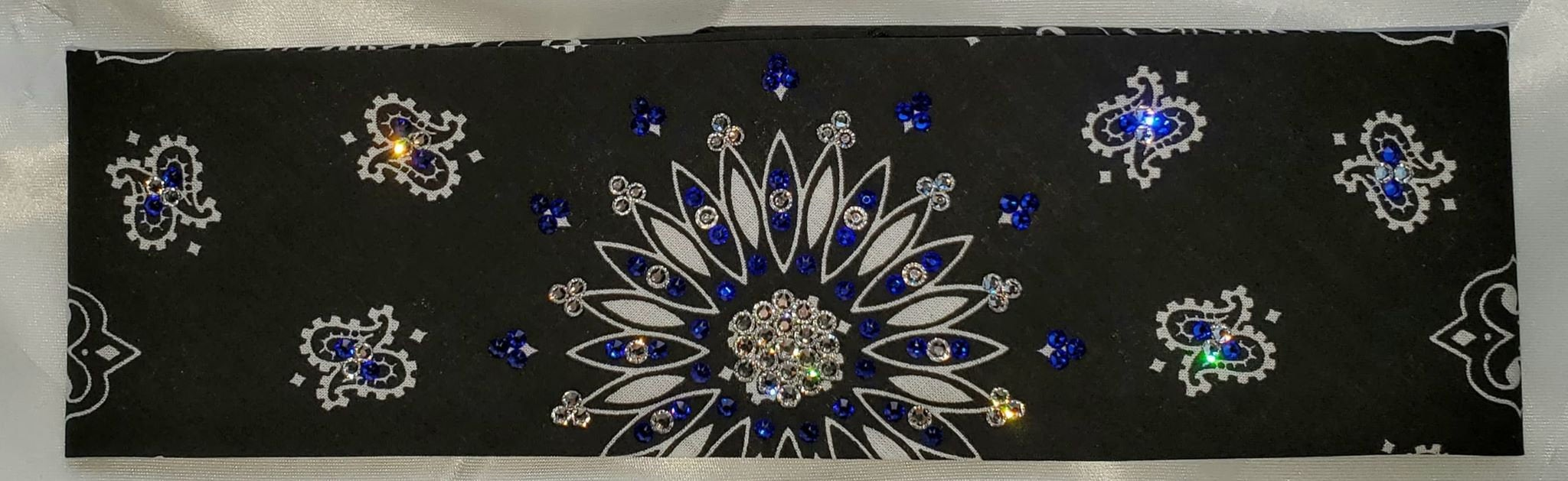 Black Paisley with Blue and Diamond Clear Swarovski Crystals (Sku1900)