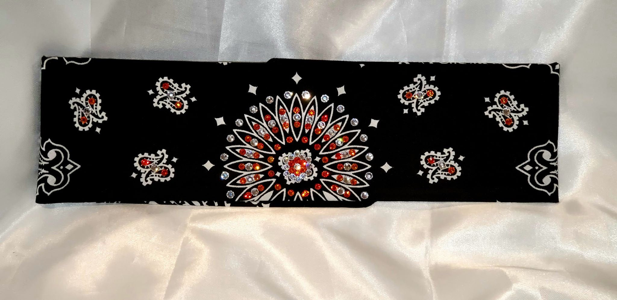 Black Paisley With Orange and Diamond Clear Swarovski Crystals (Sku1932)