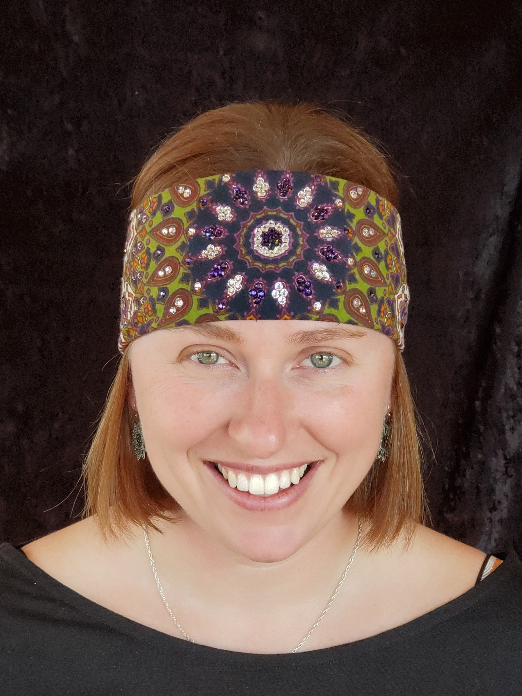 Green Indian with Purple and Clear crystals (Sku1297)