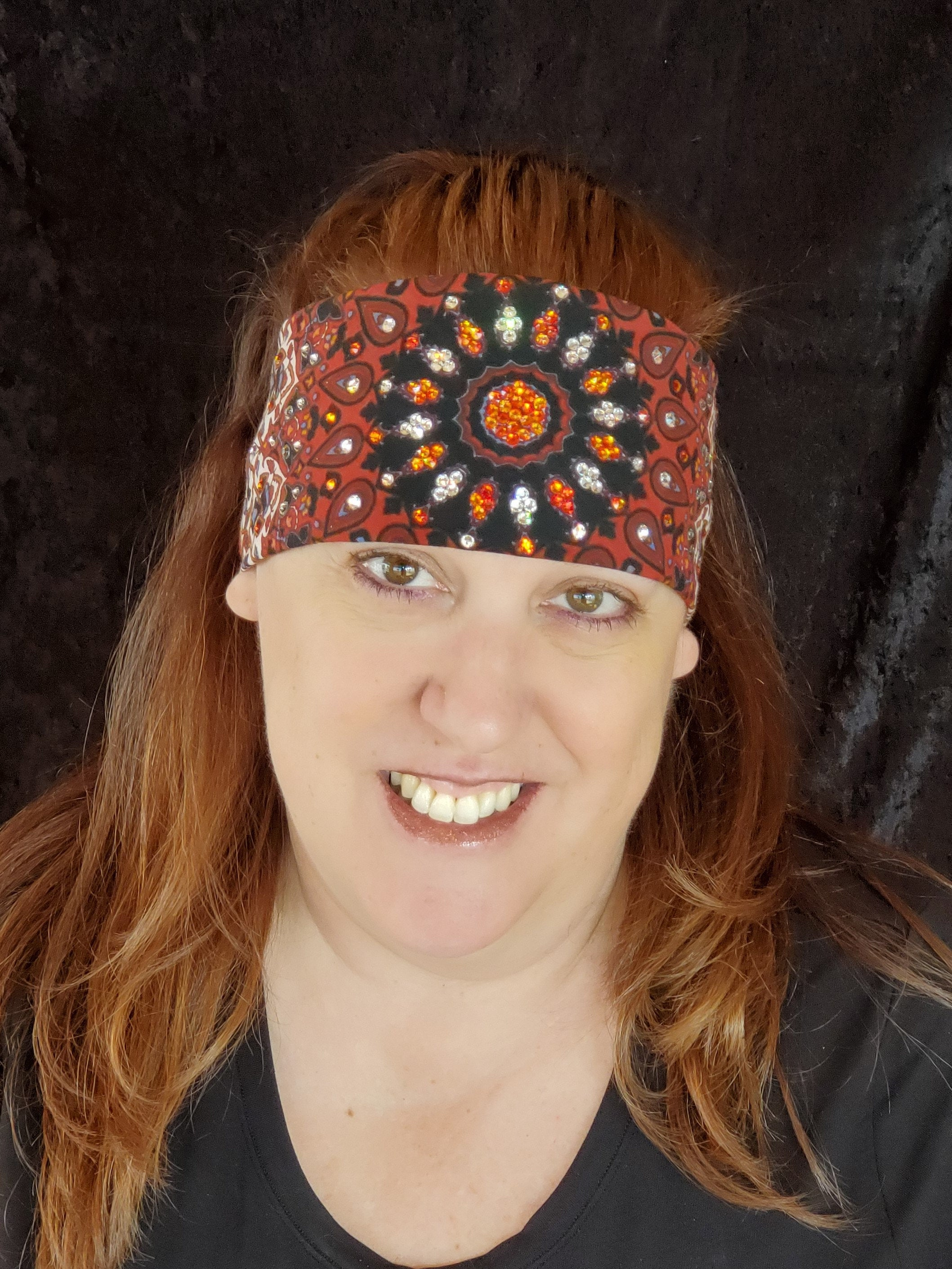 Rust Indian with Orange and Orange and Clear ring of Crystals (Sku1293)